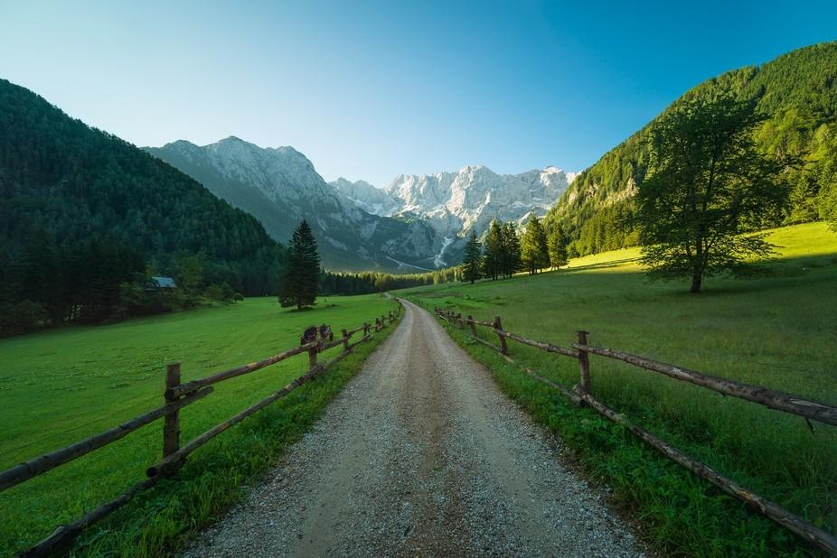 Gravel road leading up to Kamnik-Savinja Alps, Slovenia