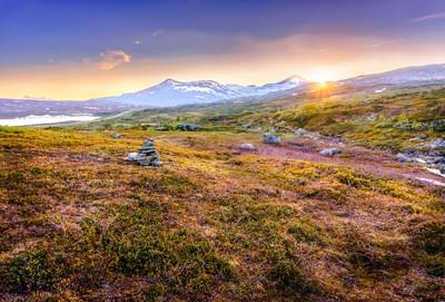Sunset in tundra
