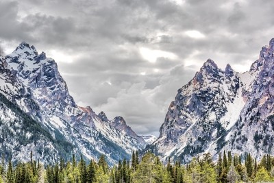 Grand Tetons mountains in Wyoming national park with cloudy stormy sky