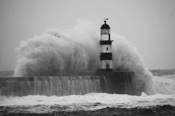 Storm surge  by StuartWright - The Water In Black And White Photo Contest