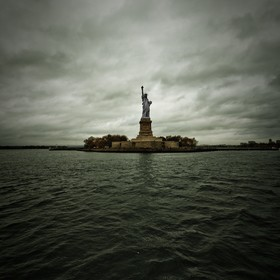 There she is standing there under the dark clouds, maybe a comparison to our freedom these days ... a statue of liberty.