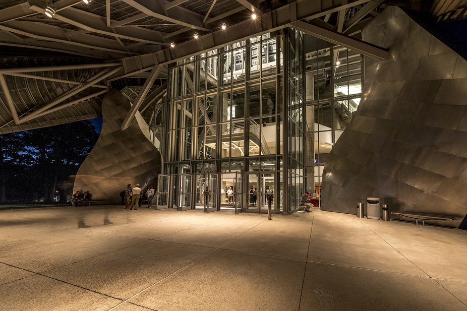 The performing arts center at Bard college one late evening when there was a concert scheduled. 5...