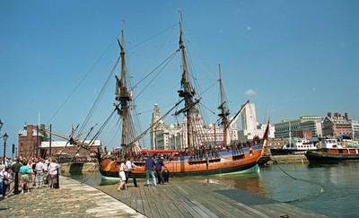 HM Bark Endeavour in Canning Half Tide Dock Liverpool July 1997.
