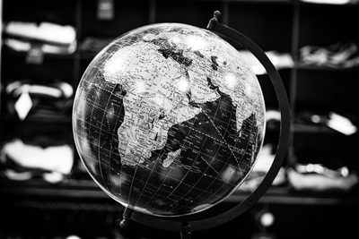 Earth Globe in Black and White