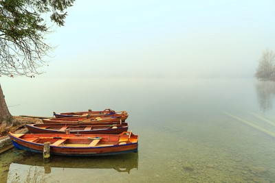 Foggy Boats on the Shore of Lake Bled