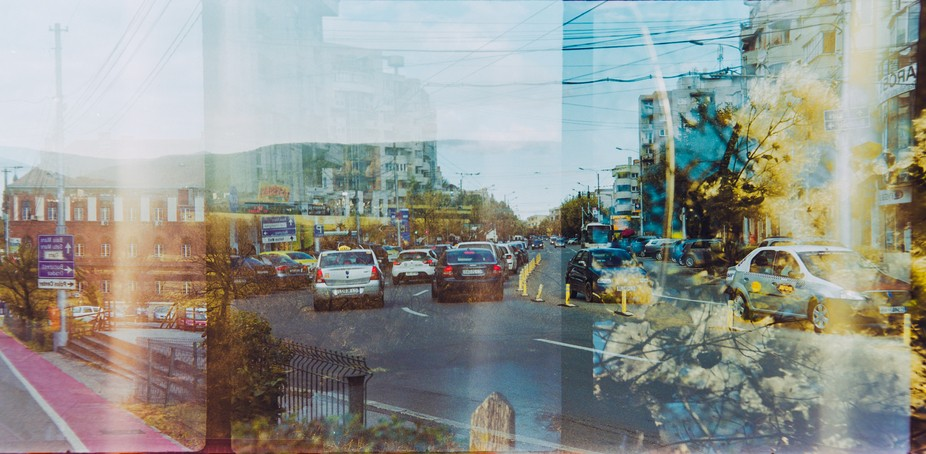 Double exposure on ISO 200 Fujicolor film.