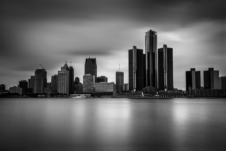 Renaissance Centre Detroit From Windsor, Ontario, Canada