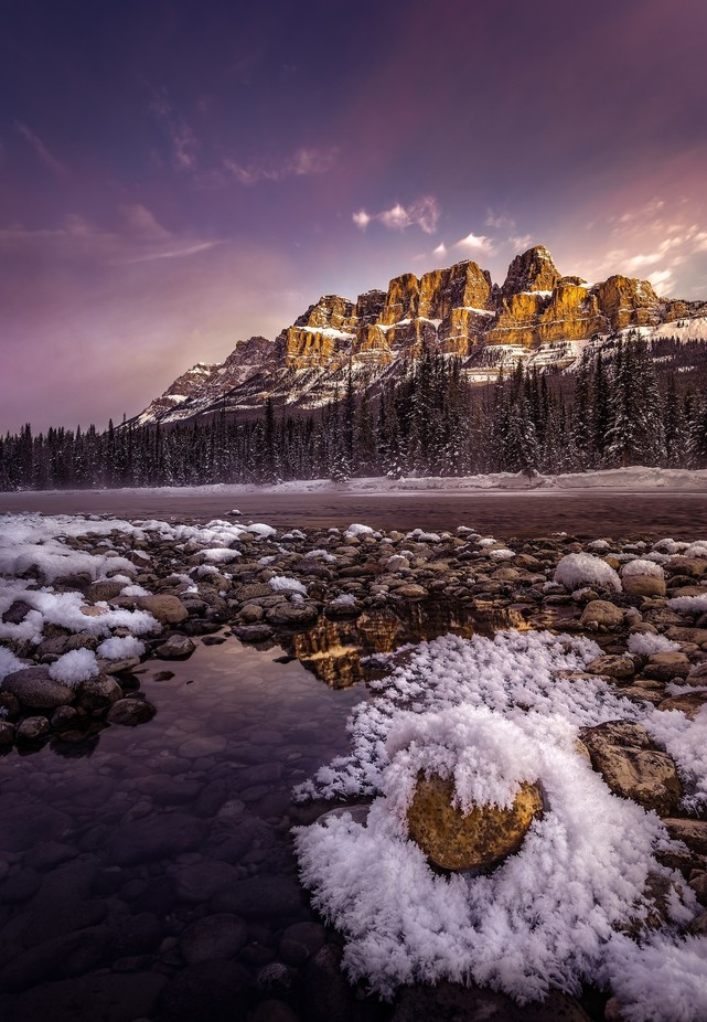 Winter Sunrise at Castle Mountain by chadmcmahon - The Zen Moment Photo Contest