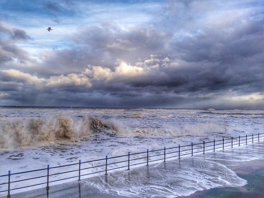 North Sea at High tide breaching the promenade at North Sands Hartlepool