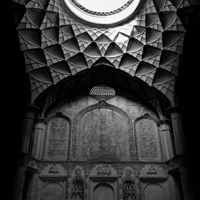 Beautiful Light and shadow on karbandi in a historical house (Abbasian house) of kashan, Iran