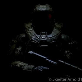 Creative (low key) lighting with a Master Chief figurine.