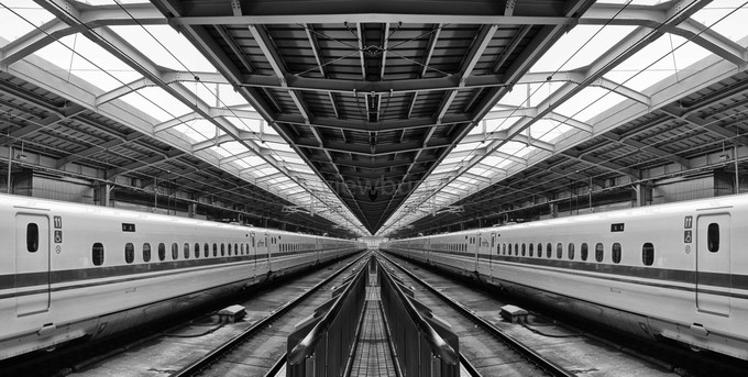 Modern trainmirror image. by Multifacet - Diagonals And Composition Photo Contest