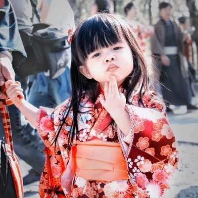 The little girl in national costume