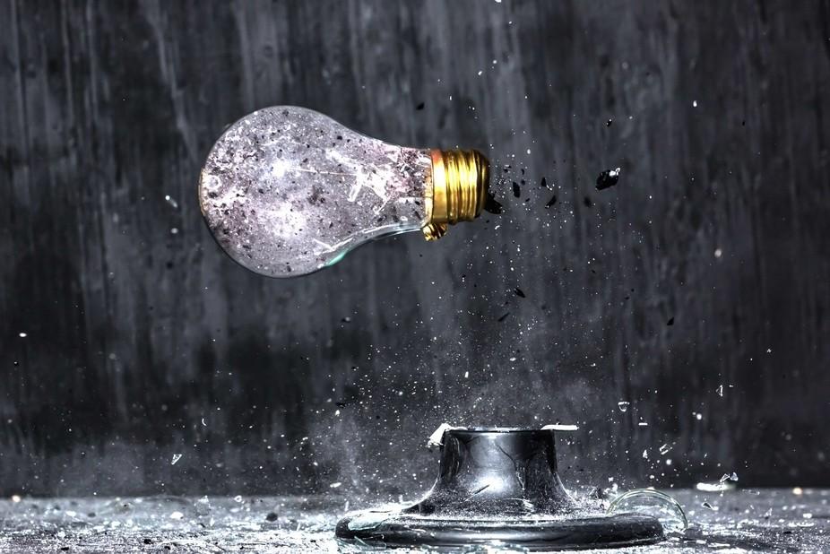 Light bulb being shot I the horizontal position thru the base