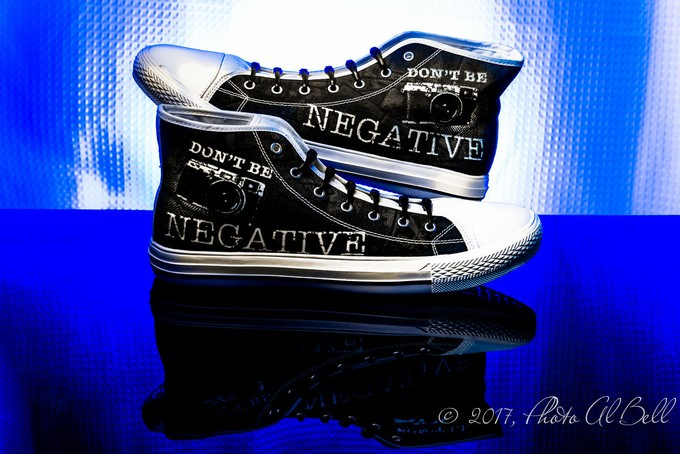 Don't Be Negative in blue by AlbertBell - Cool Shoes Photo Contest