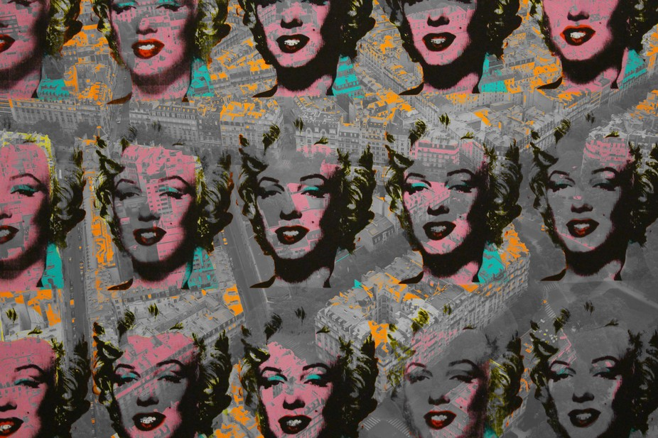 Hope to inspire others with my rough color stencil print Double exposure edit of Andy Warhol&...