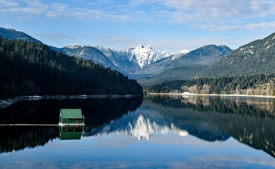 Reflection of The Lions at Capilano Lake