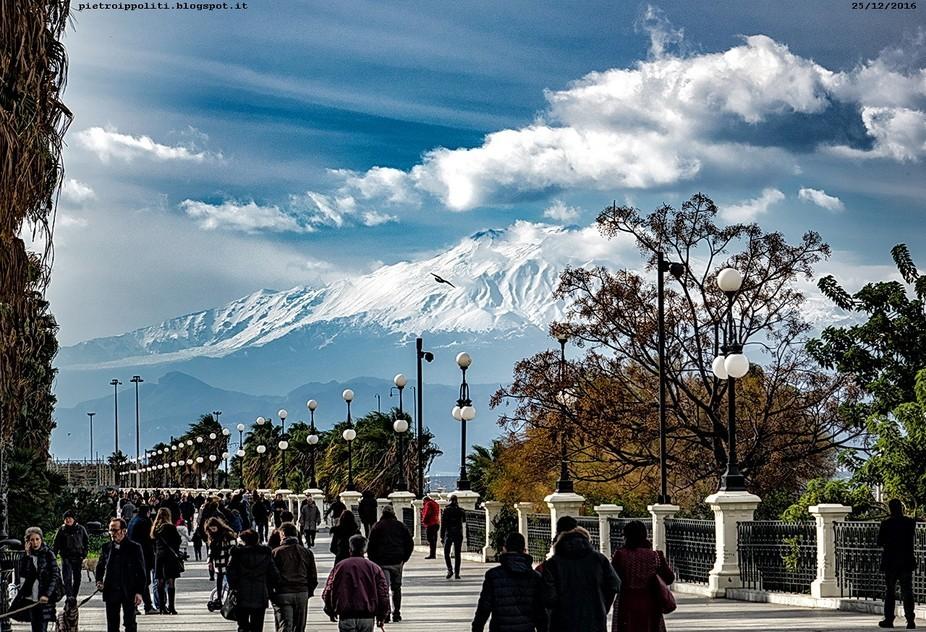 A snow covered Etna from Reggio Calabria