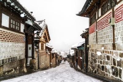 snow over bukchon