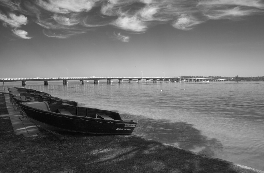 A shot I snapped a while back of the hire boats and bridge at Bribie Island, Queensland.