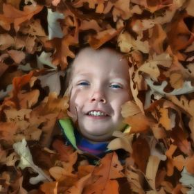 My son in the leaves