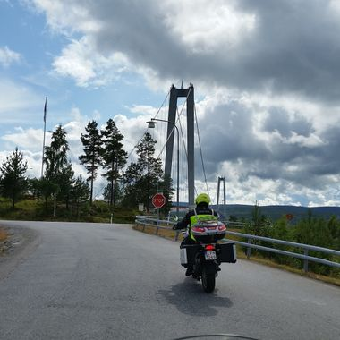 I took this photo when we were on holiday in Sweden, in the year 2015. Our host is mad about motorbikes and he took me on a ride around the country with some of his motorbike buddies.