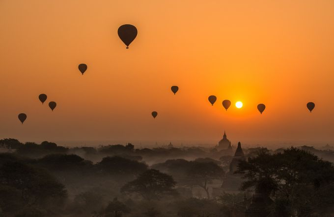 Balloons over Bagan by kathrynsklenakdannay - Orange Is The Color Photo Contest