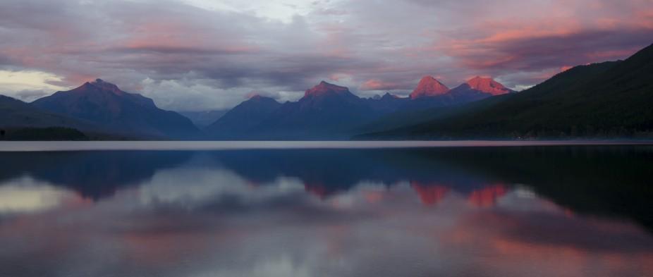 Lake McDonald at  sunset, in Glacier National Park.