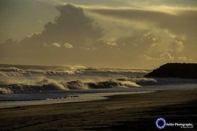 """Sun sets and waves pound NAS Pt. Mugu Beach"""