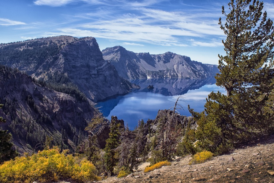 These cliffs form the south rim of Crater lake in Oregon USA. The lake is among the deepest in th...