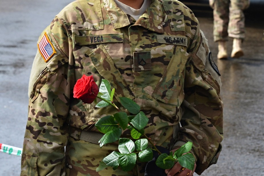 Thanksful Rose to American Soldier.