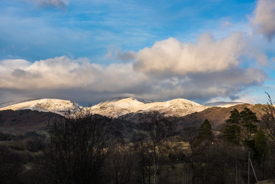 Snow topped peaks  in the Lake District Uk