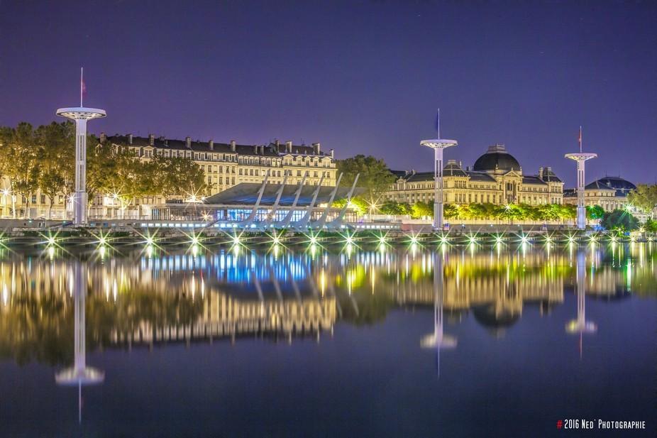 Reflection in the Rhône River.