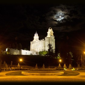 Full moon over Manti LDS Temple in Manti, Utah.