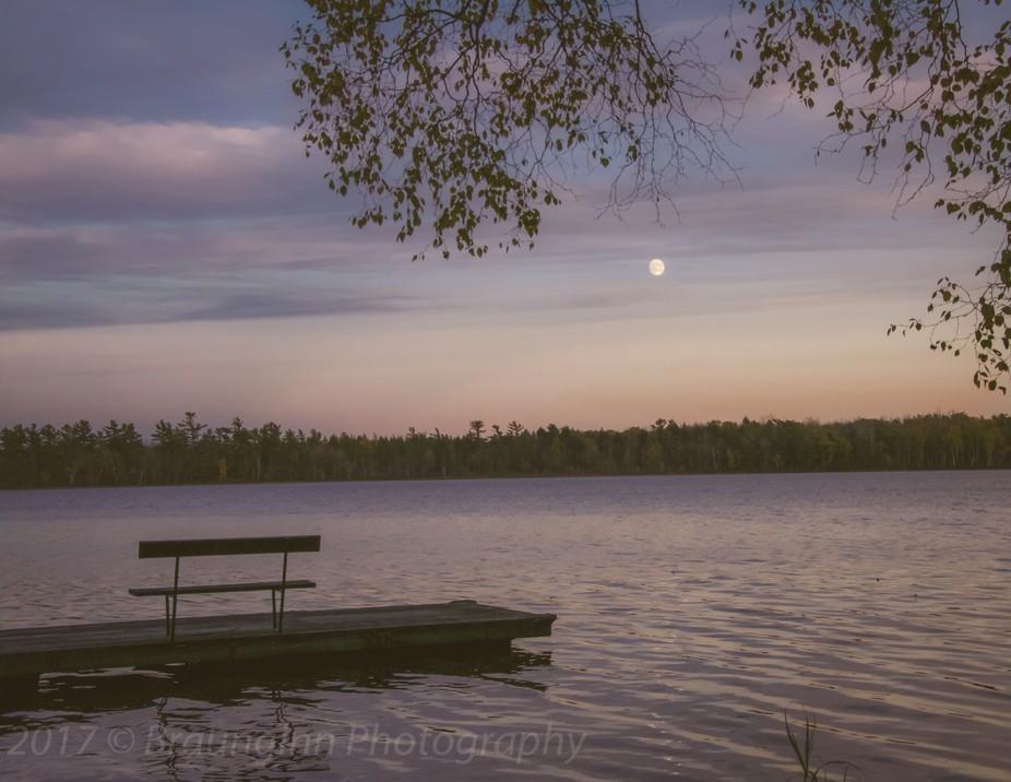 Sunset on Gunlock Lake on old pier