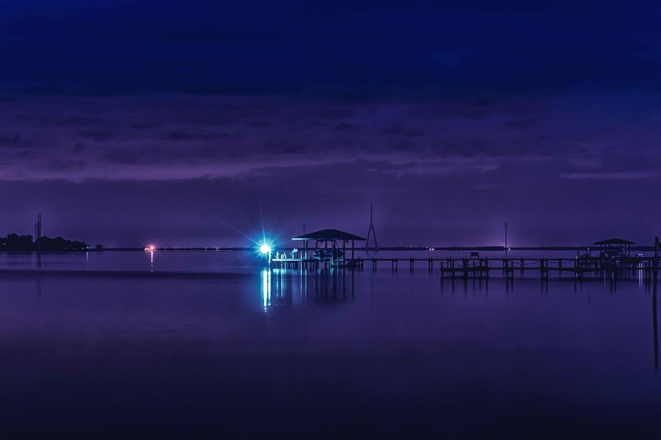 Night shot of docks in the Gulf of Mexico.