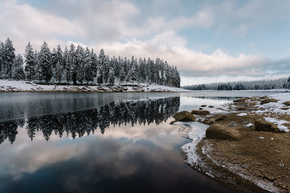 The winding shore of the Oderteich in the Harz national park