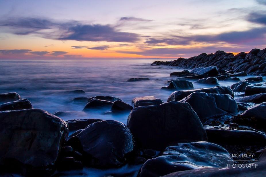 Long exposure shot in Dorset, UK during sunset