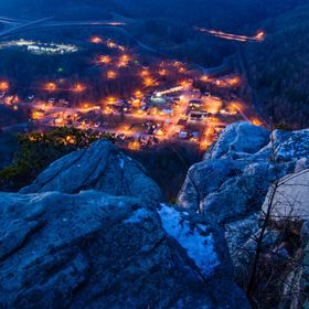 The lights of the small town of the Cumberland Gap lit up from the Pinnacle Overlook.