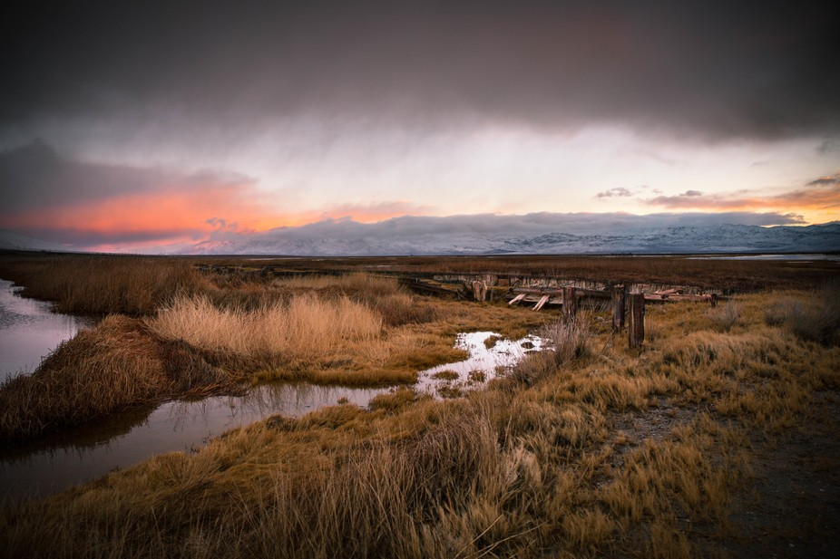 Sunrise above the failing dikes at the abandoned Cartago soda ash plant. This area is now a wildl...