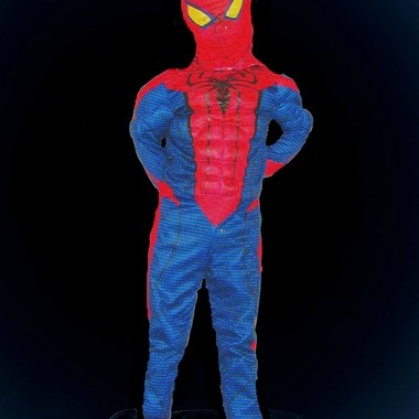 My son dressed up as Spiderman. Working with layers. Bottom layer in negative.