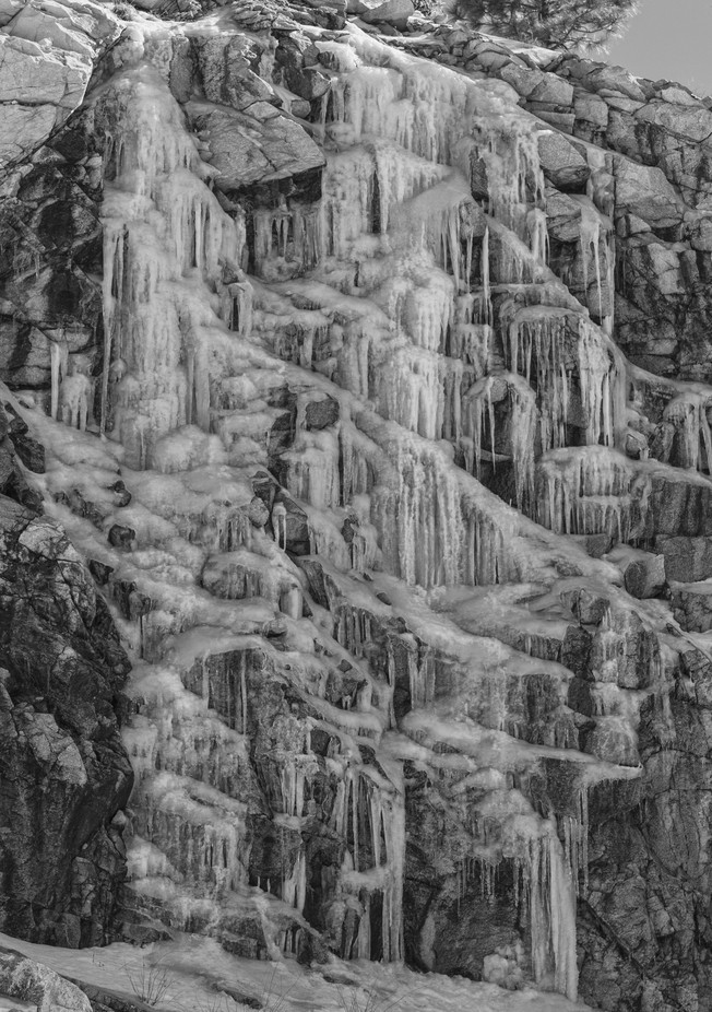 A wall of icicles in a desert mountain of southern Arizona near Tucson
