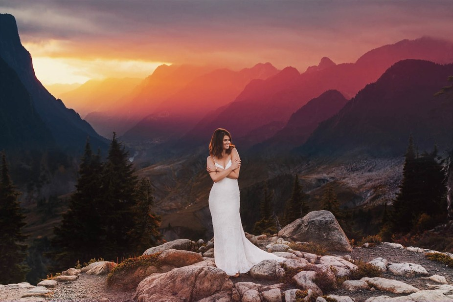 On top of Artist Point at Mount Baker, Washington for a gorgeous bridal session.