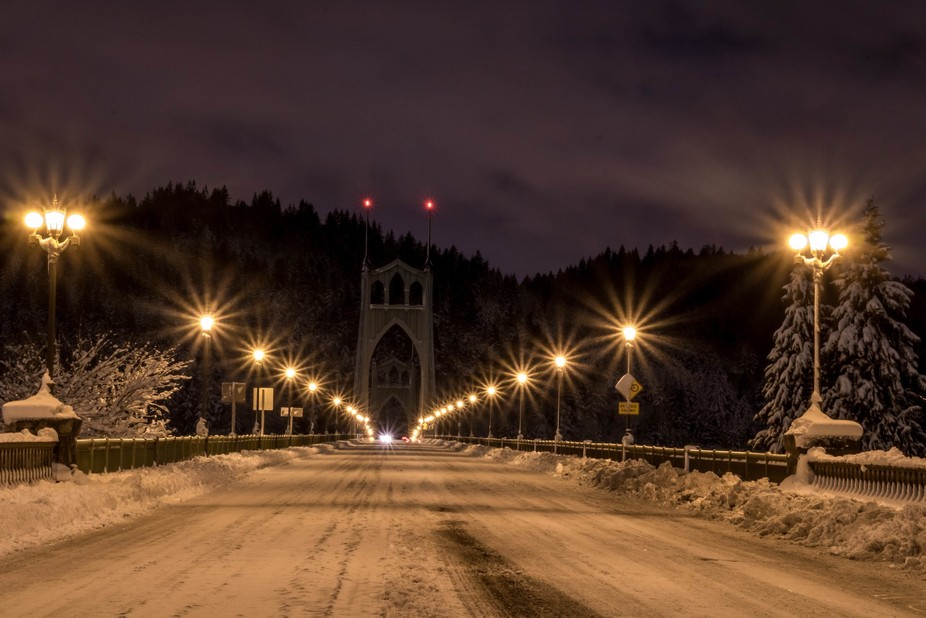 Opposite end of the St. John's Bridge during our ice and snow storm that crippled Portla...