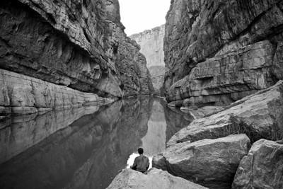 Sitting between the international borders, Big Bend National Park, Texas