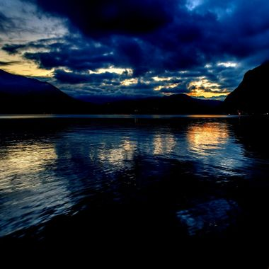Sunset on the lake around Bergamo