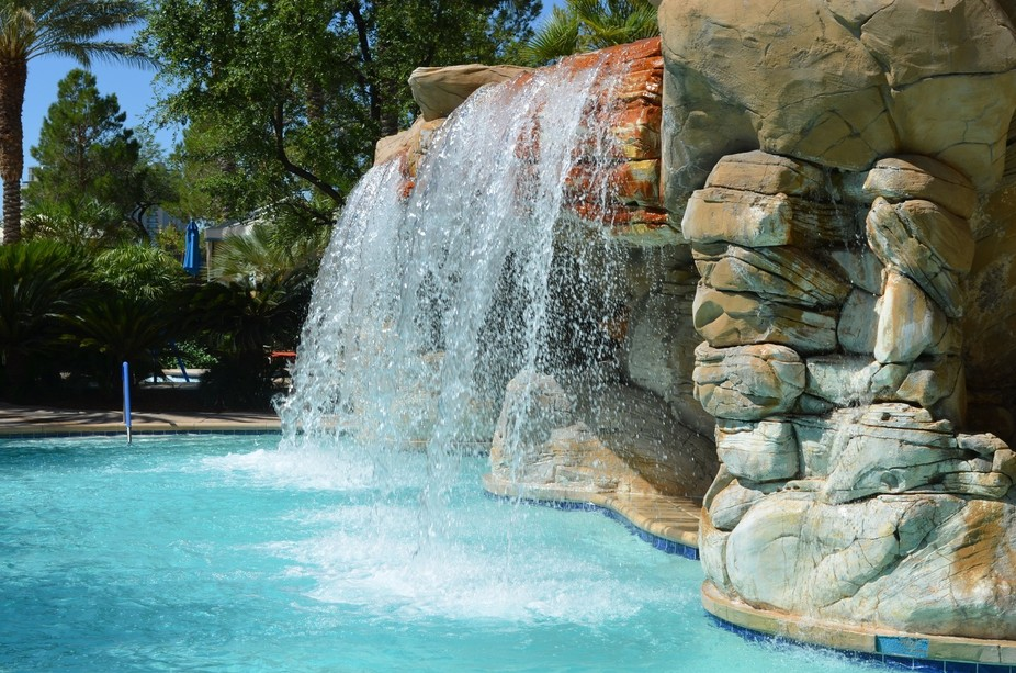 JW Marriott Las Vegas Man made waterfall. Wonderful effect that created an unexpected beauty to t...