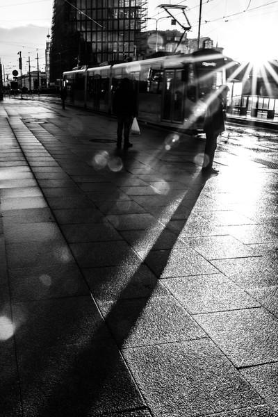 Urban sunset in black & white
