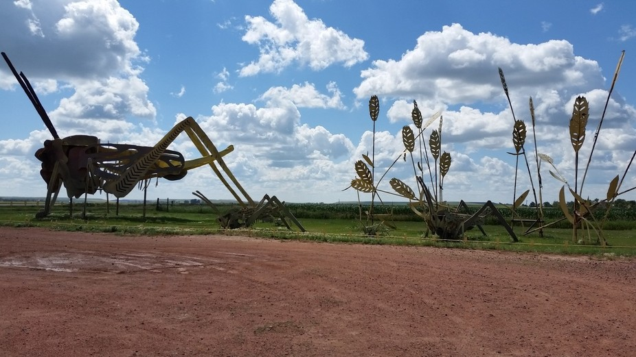On North Dakota's Enchanted Highway, this one of several giant metal sculptures depicts ...