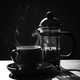A photo I took for a challenge from my local photography group. French press coffee, unfiltered, is not all that healthy. It is very tasty, though!
